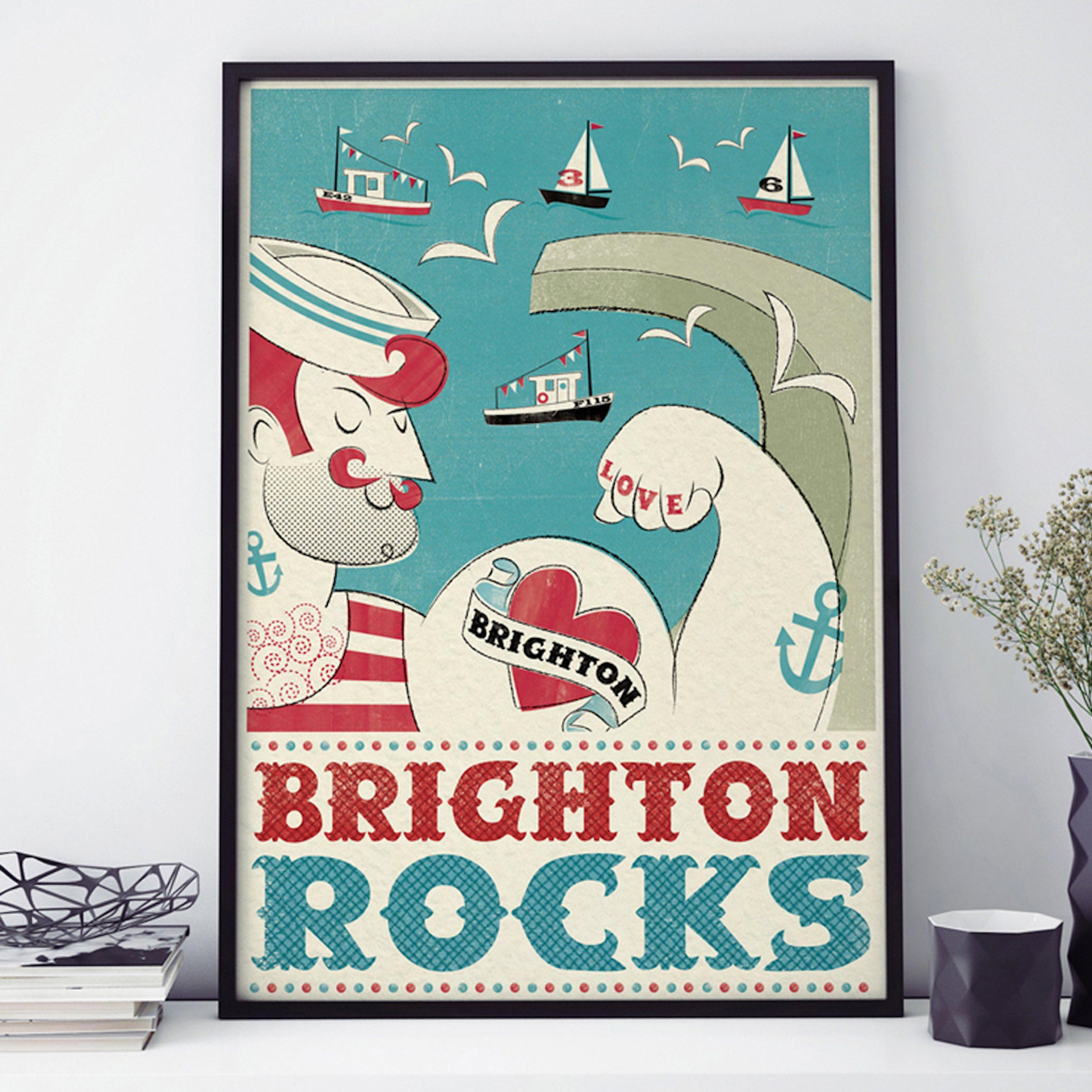 Pennychoo, BRIGHTON ROCKS FRAMED PRINT A3, £16
