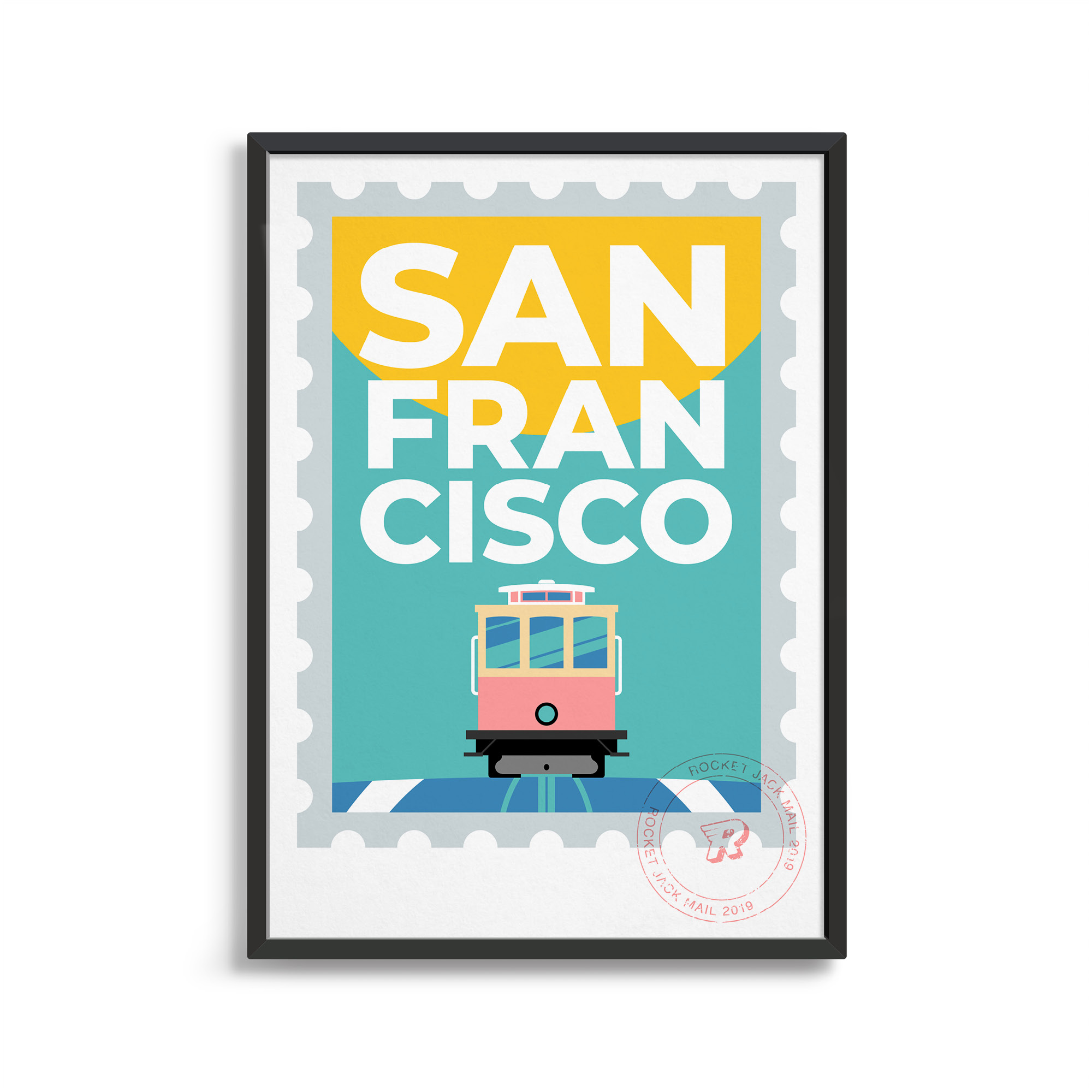 Rocket Jack, San Francisco Print Bright Colours