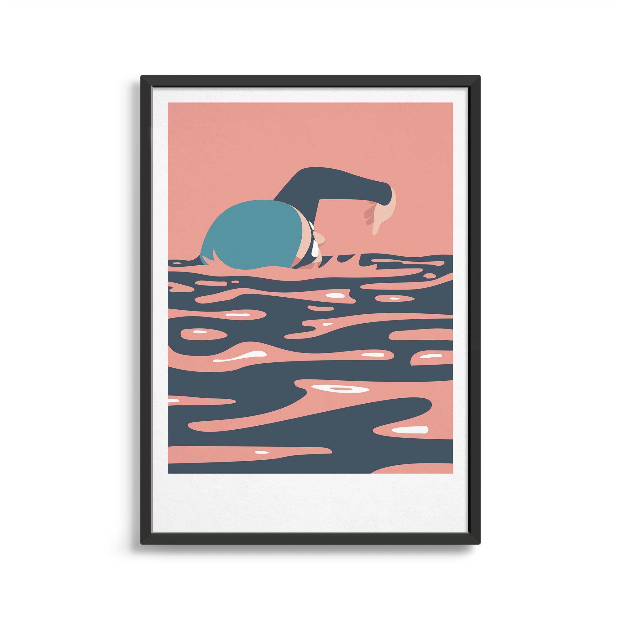 Swim Print Pink and Blues